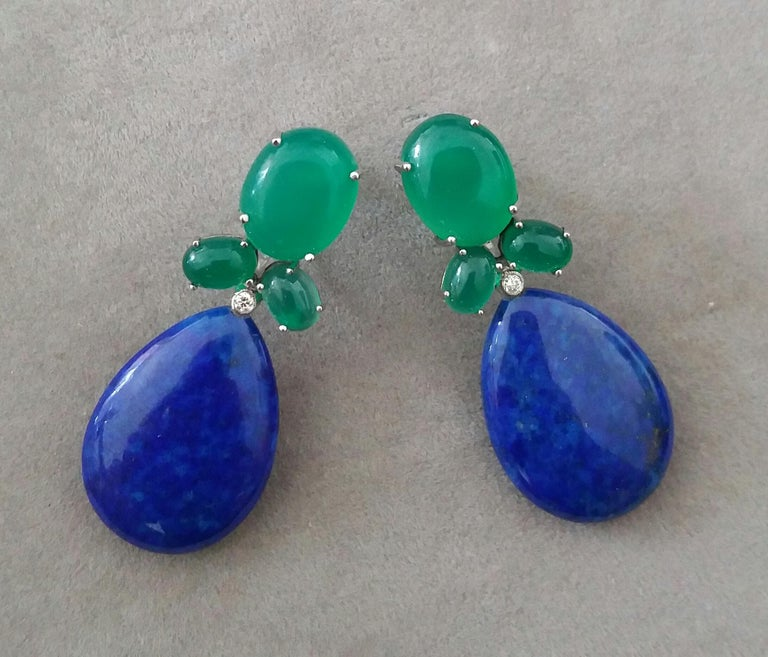 Art Deco Green Onyx Oval Cabs Gold Diamonds Natural Lapis Lazuli Flat Plain Drop Earrings For Sale