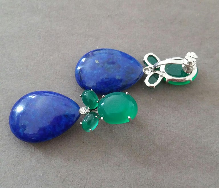 Mixed Cut Green Onyx Oval Cabs Gold Diamonds Natural Lapis Lazuli Flat Plain Drop Earrings For Sale