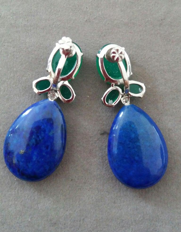 Women's Green Onyx Oval Cabs Gold Diamonds Natural Lapis Lazuli Flat Plain Drop Earrings For Sale