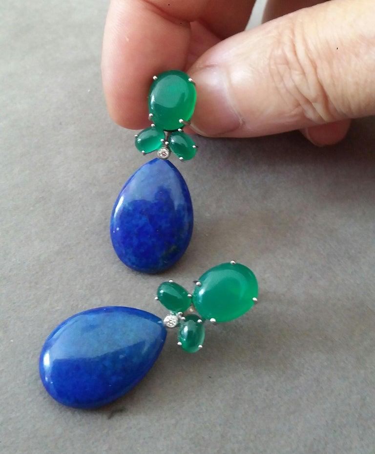 Green Onyx Oval Cabs Gold Diamonds Natural Lapis Lazuli Flat Plain Drop Earrings For Sale 1
