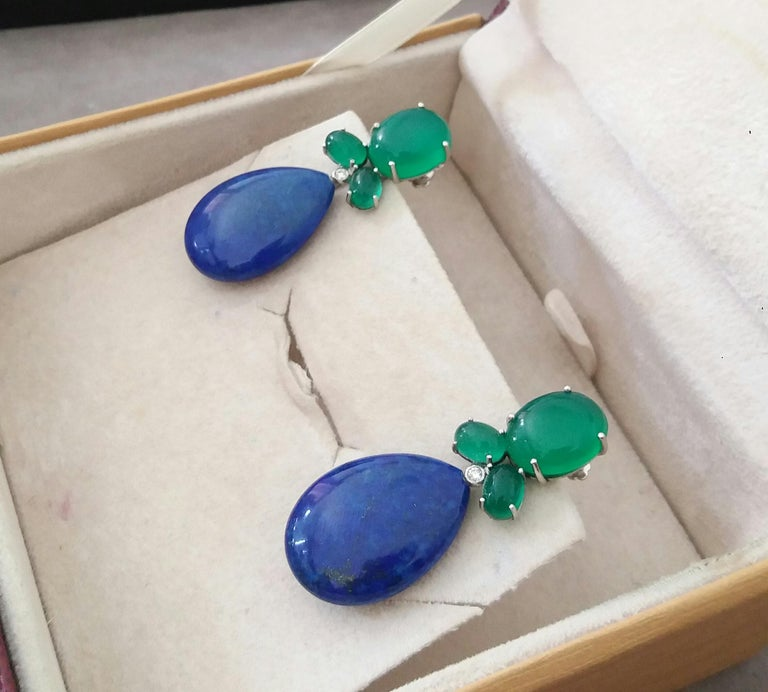 Green Onyx Oval Cabs Gold Diamonds Natural Lapis Lazuli Flat Plain Drop Earrings For Sale 3