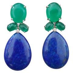 Green Onyx Oval Cabs Gold Diamonds Natural Lapis Lazuli Flat Plain Drop Earrings