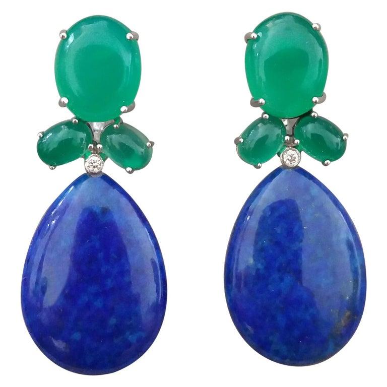 Green Onyx Oval Cabs Gold Diamonds Natural Lapis Lazuli Flat Plain Drop Earrings For Sale