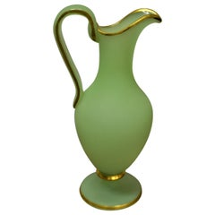 Green Opaline Glass Urn with Gilt Leaf Accents