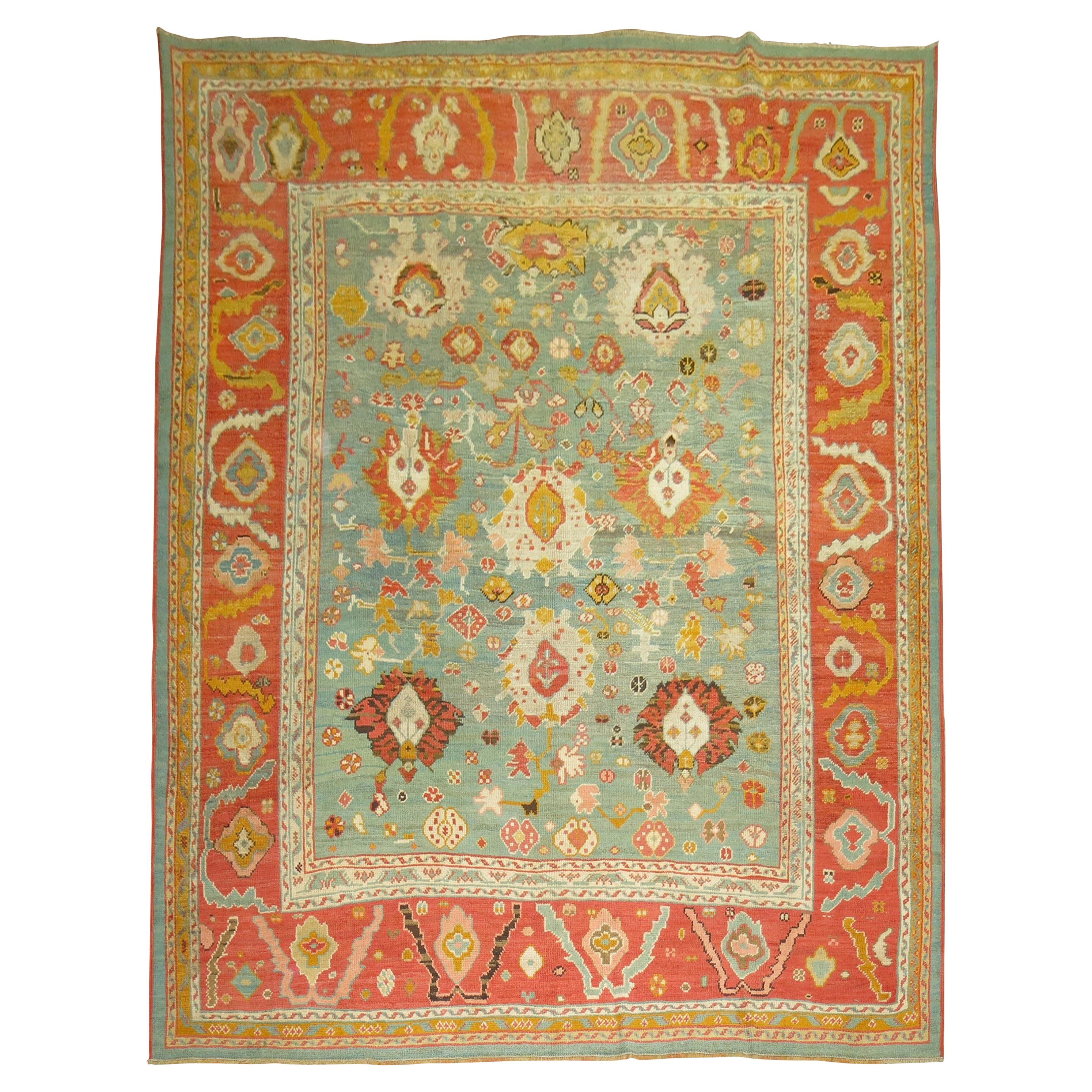 Green Orange Antique Oushak Rug