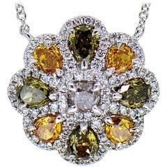 Green, Orange, White and Champagne Diamond Flower Necklace 18 Karat White Gold