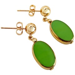 Green Oval Vintage German Glass Beads edged with 24K gold Earrings
