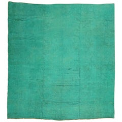 Green Over-Dyed Angora Oushak Square Rug