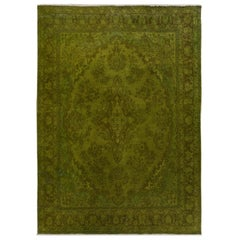 Green Overdyed and Vintage Worn Down Persian Bibikabad Hand Knotted Oriental Rug
