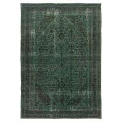 Green Overdyed Vintage and Worn Down Persian Hamadan Hand Knotted Pure Wool