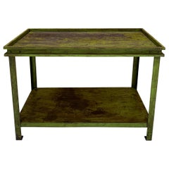 Green Painted American Industrial Potting Table