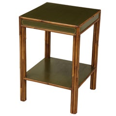 Green-Painted and Bamboo Side Table
