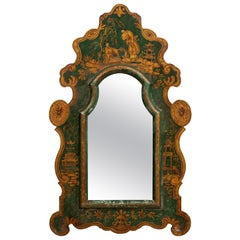 Green Painted Antique Mirror
