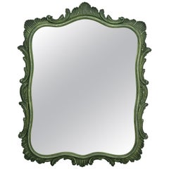Green Painted Carved Foliage Mirror