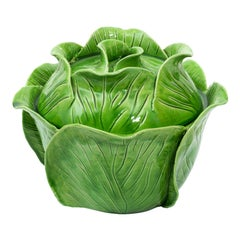 Green Painted Ceramic Cabbage Container by Jean Rogers, circa 1960s