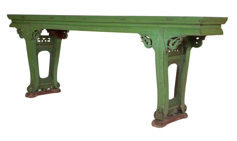 Remarkable Green Painted Chinese Console Table Large Scale Machost Co Dining Chair Design Ideas Machostcouk