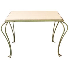 Green Painted Coffee Table with Faux Shagreen Top