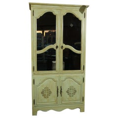 Green Painted Distressed Baker Armoire With Two Mirrored Glass Doors