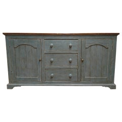 Green Painted English Dresser Base