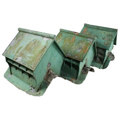 Green Painted Galvanised Tin Roof Vents, 20th Century