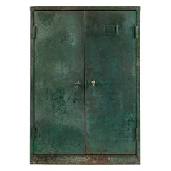 Green Painted Industrial Steel Factory Cabinet, c.1935-50