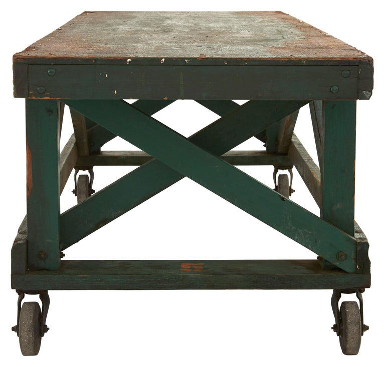 American Green Painted Industrial Wooden Work Table For Sale