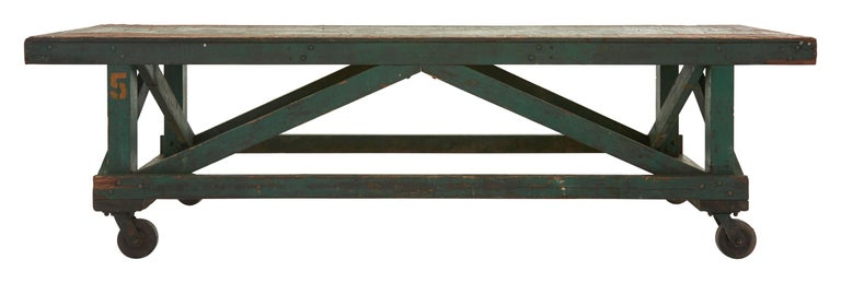Green Painted Industrial Wooden Work Table In Good Condition For Sale In Chicago, IL