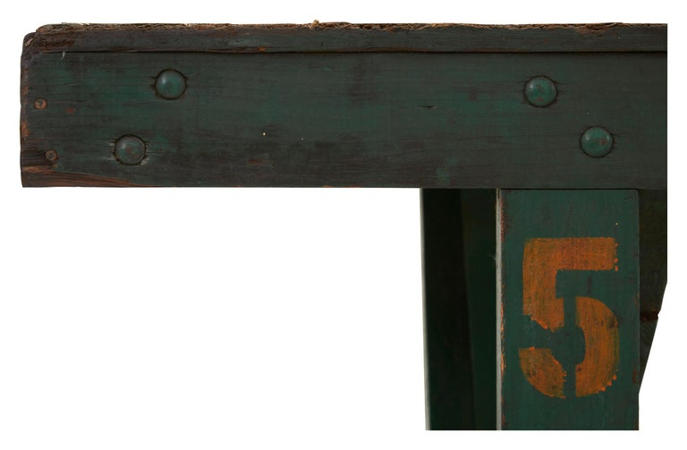 20th Century Green Painted Industrial Wooden Work Table For Sale