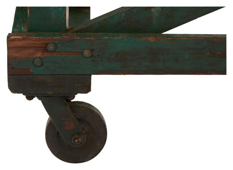 Green Painted Industrial Wooden Work Table For Sale 1