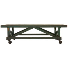 Green Painted Industrial Wooden Work Table
