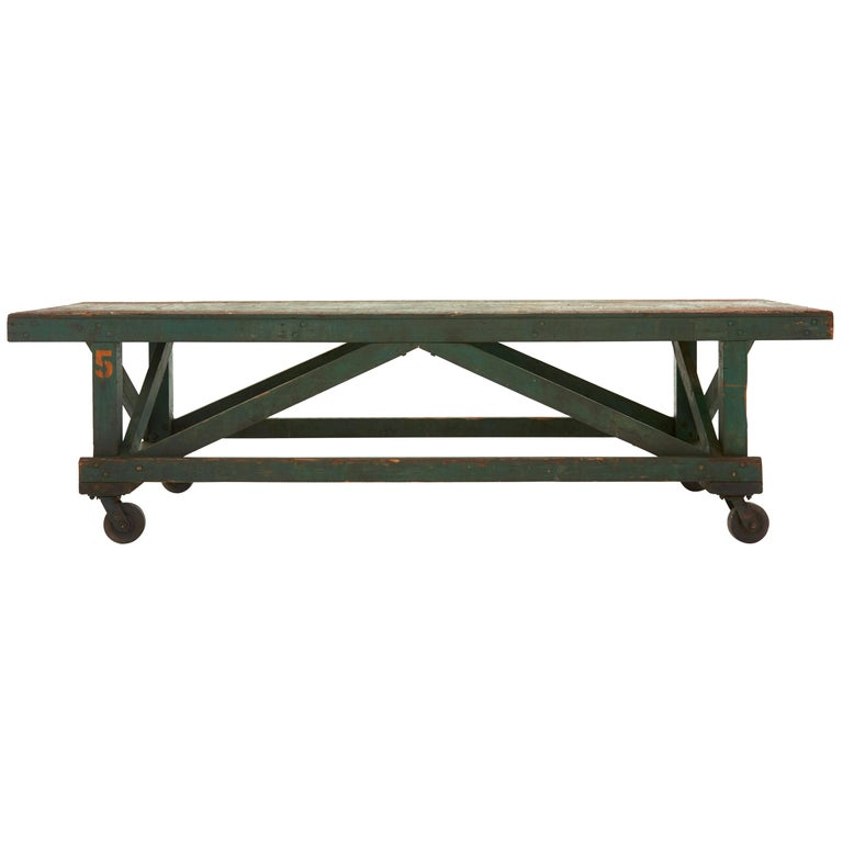Green Painted Industrial Wooden Work Table For Sale