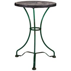 Green Painted Iron Base and Marble Top Garden Table