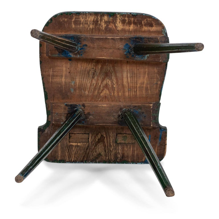 Green Painted Swedish Folk Art Chair 4
