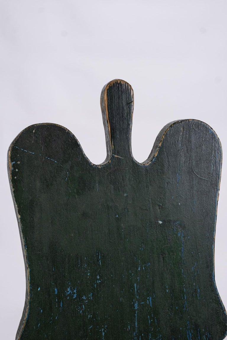 Hand-Carved Green Painted Swedish Folk Art Chair
