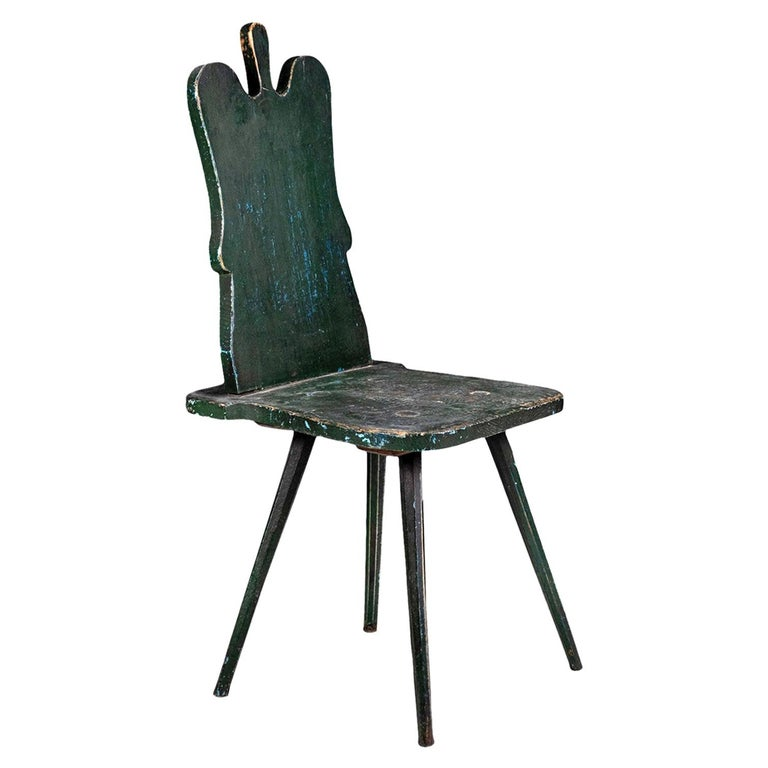 Green Painted Swedish Folk Art Chair