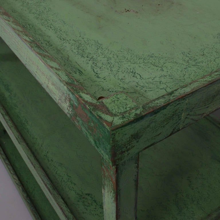 Green Painted Two-Tier Pottery Table In Good Condition For Sale In Stamford, CT