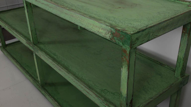 Green Painted Two-Tier Pottery Table For Sale 1