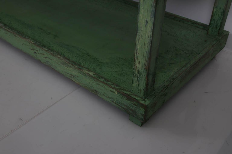 Green Painted Two-Tier Pottery Table For Sale 2