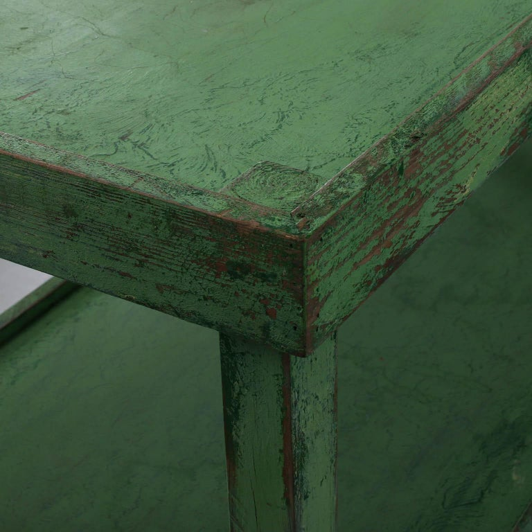 Green Painted Two-Tier Pottery Table For Sale 3