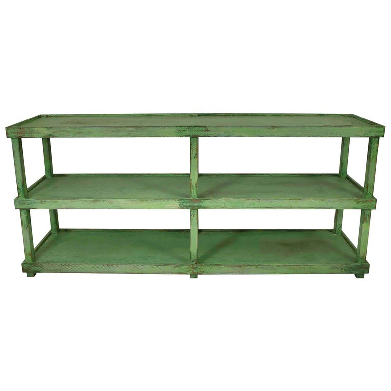 Green Painted Two-Tier Pottery Table For Sale