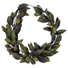 Green Painted Vintage Tole Wreath
