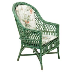 Green Painted Woven Wicker Armchair