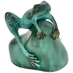 Green Patina'd Bronze Metal Frog Statue, Style of Marshall Fredericks