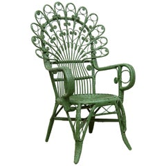 Green Peacock Armchair Mid-Century Modern in Bamboo and Rattan, circa 1960