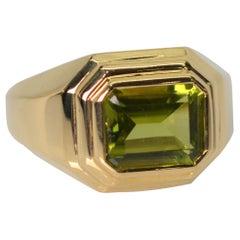 Green Peridot 14 Karat Yellow Gold Step Ring