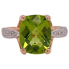 Green Peridot Ring, 4.00 Carat Cushion Cut Genuine Gem with Diamonds