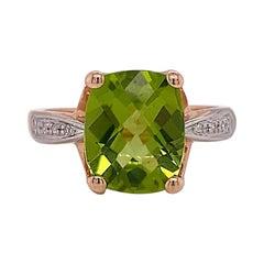 Green Peridot Ring, 4.00 Carat Cushion Cut Genuine Gem with Diamonds, Sizable