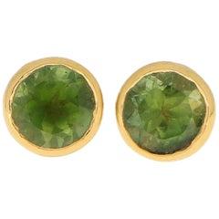 Green Peridot Stud Earrings Set in 18 Karat Yellow Gold
