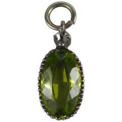 Green Peridot White Diamond Silver Charm Pendant