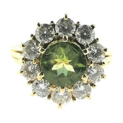 Green Peridot with Brilliant Cut Diamonds 18 Karat Yellow Gold Ring